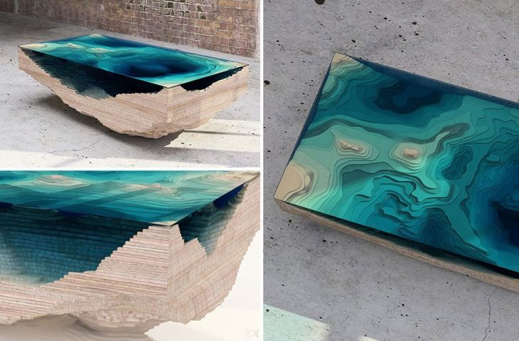 Table made of multilayered glass.
