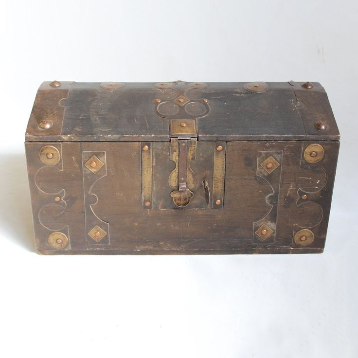 Shop our Moroccan trunks at Mix Furniture!! Vintage Moroccan storage trunk with brass work decorative details lock and key.