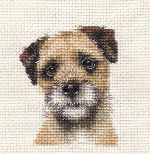 BORDER-TERRIER-Dog-Puppy-Full-counted-cross-stitch-kit-All-materials