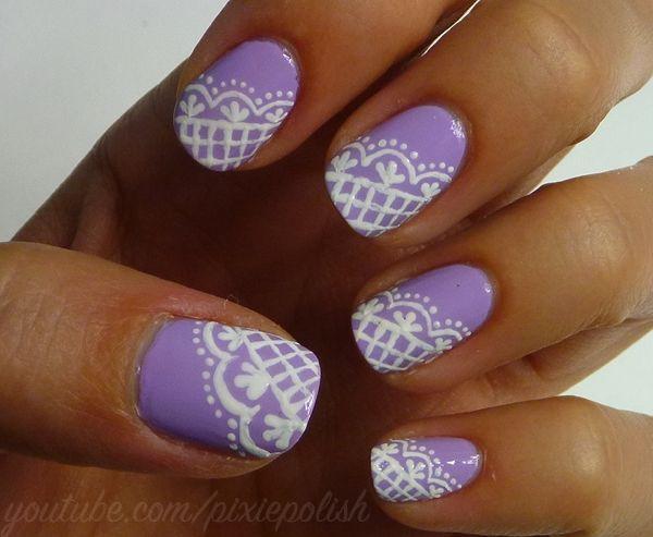 lacey lilac nailsBaby Blue, Nails Art, Polish Nails, Lace Nails, Lilac Nails, Purple Nails, White Lace, Lacey Lilac, Blue Nails