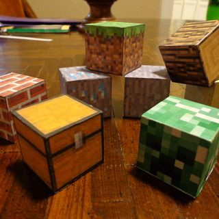 "REAL Minecraft Blocks! 1 1/4"" Wood Craft Blocks...Brighams choice for this years Christmas gift for his siblings..."