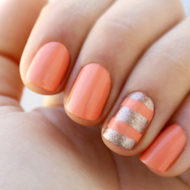 Fabulous Spring nail colour trend!  Maybe do this with a lighter or paler salmon/pink