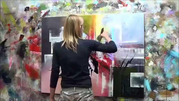 D monstration de peinture abstraite 4 elisabeth toile for Toile abstraite