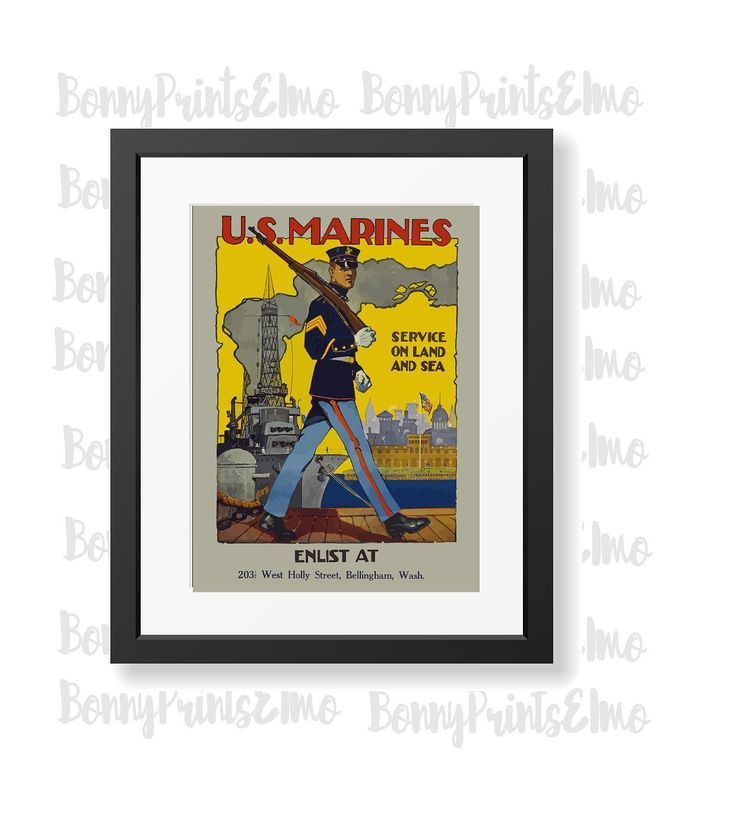 US Marines Poster,Vintage Marines Poster,Marines Recruitment,Military Poster,US…