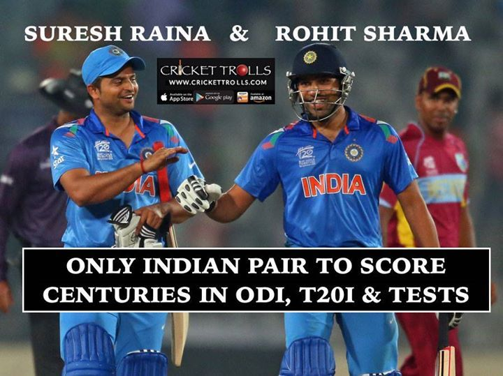 #TeamIndia #RohitSharma #SureshRaina Suresh Raina & Rohit Sharma are the only Indian players to achieve this feat - http://ift.tt/1ZZ3e4d