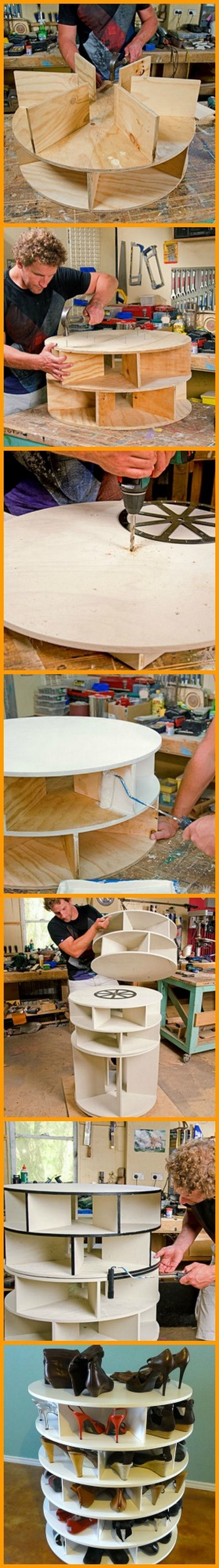 Keeping your shoes organized is made easier with this lazy Susan shoe rack. Build one for yourself by viewing the full album of the project at: http://theownerbuildernetwork.co/m4yq Do you know someone who needs this too?