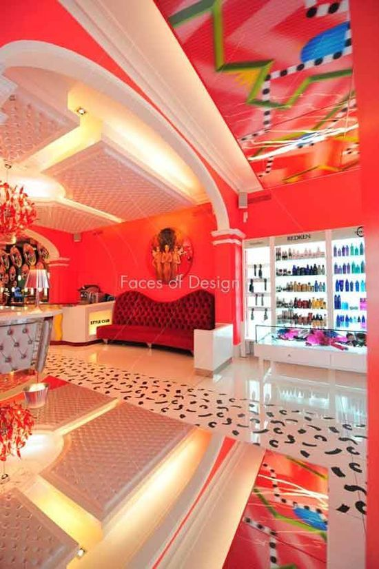 Exquisite Red Hair Salon Interior Haidresser