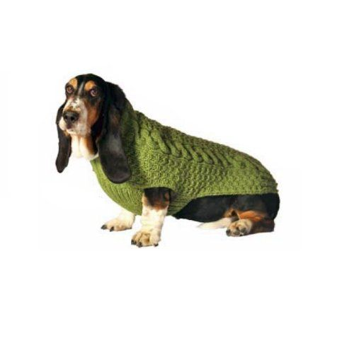 Chilly Dog Green Cable Dog Sweater Large
