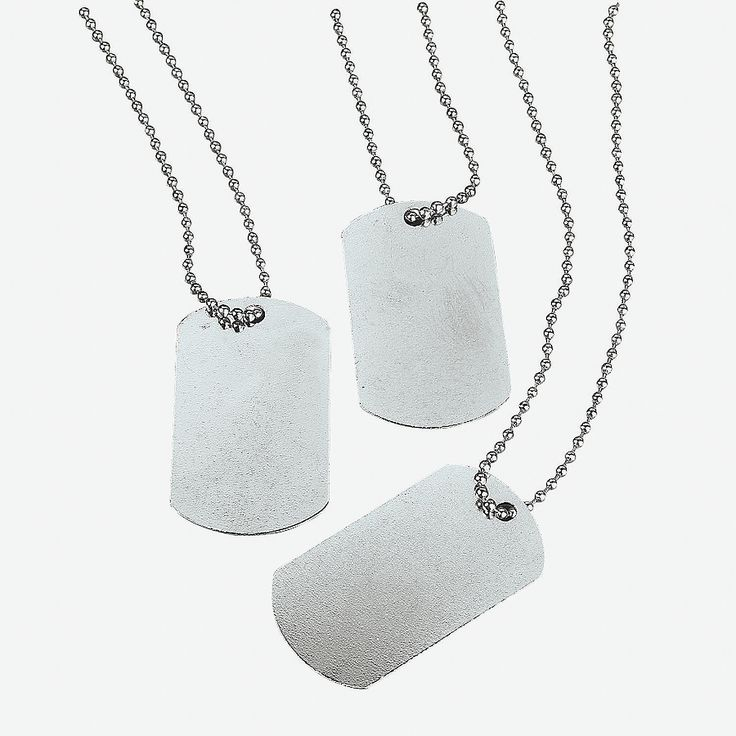 Dog Tag Necklaces - Great to use a craft for older boys for Nerf Party - OrientalTrading.com