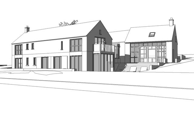 Perspective view of sketch design proposal for new dwelling at Captain's Boreen, Carrigaline, Co.Cork by Hugodesign
