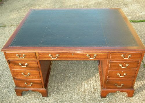Antique Partners Desk - Large 19th Century Georgian Manner 5ft Victorian Mahogany Partners Desk With Full 18 Drawer Double Side Fitting