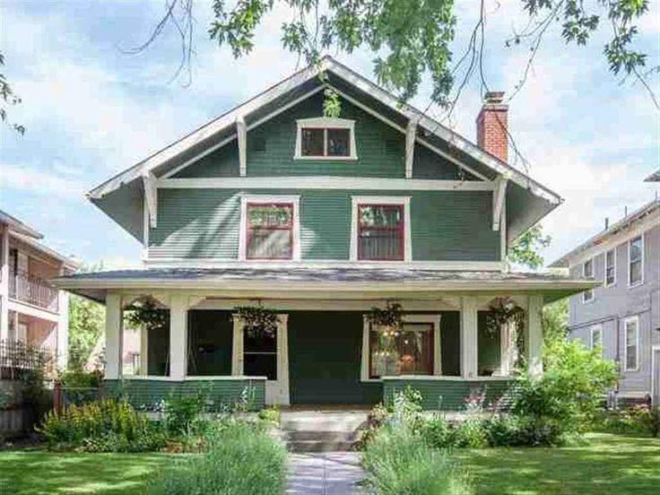 1910 Craftsman House Spokane WA Exterior With Green Siding