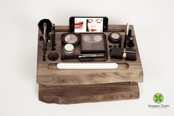 Wooden Makeup storage, beauty station, makeup organizer, makeup brush holder by krasendom on Etsy https://www.etsy.com/listing/226527651/wooden-makeup-storage-beauty-station