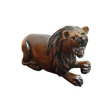 TilaVie Lion Statue Teak Wood