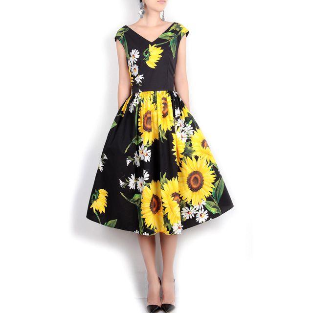 Nuevo 2017 marca de primavera y verano runway mujeres vestido de algodón girasol margarita patrones de impresión Con Cuello En V sin mangas vestidos casuales negro