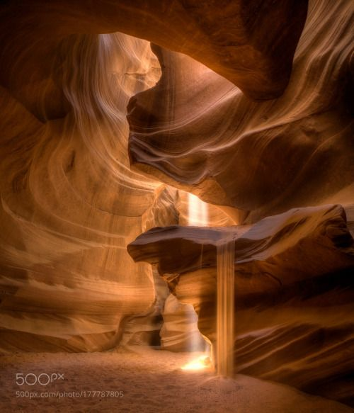 Light and Sand by NicholasL sun light abstract pattern wave ray contour cave 14-24 narrows Nikkor Antelope Canyon flowing sand S