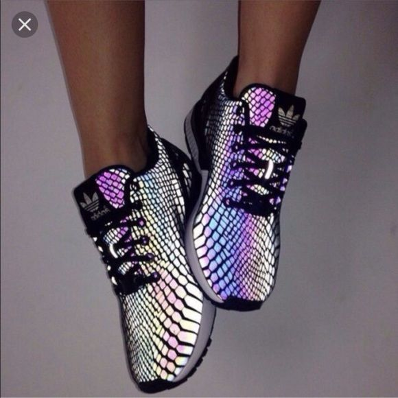 Women's 7 adidas flux snakeskin iridescent shoes Brand new dupes exacts match to original size 7 women's. They look black but when light shines on them they have this beautiful iridescent snake print Adidas Shoes Sneakers