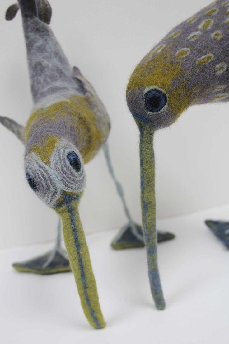 Felted bird sculpture