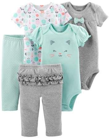 074f585bd52b4 Carter's Child of Mine by Short Sleeve Bodysuits & Pants, 5pc Set (Baby  Girls)