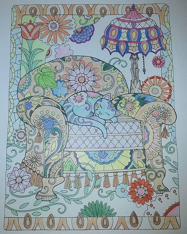 Újabb kifestőkönyv, újabb alkotás. #macsek #rajz #felnőttszínező #MarjorieSarnat #Macskák #színes #kreatív #color #cat #instalike #instacute #coloringbook 🐱🌸🌱💡
