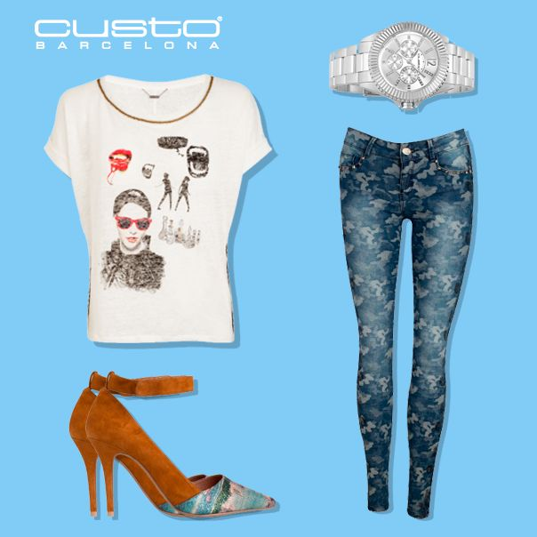 Tejanos azules + camiseta blanca: ¡Menos es más!  Blue jeans + white t-shirt: Less is more!   Consigue el look casual / Get the casual look > www.custo.com