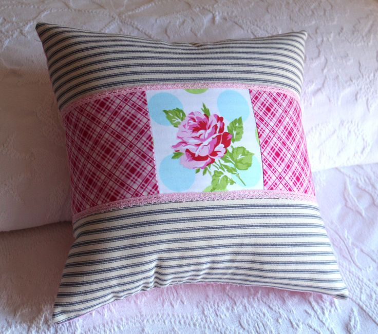 French Country Pillow Boho Rose Shabby Cottage Chic Decor Floral Blue Ticking Stripe Kids Nursery Woman's Gift Ladies French Country Cushion by ScarlettsCozyCottage on Etsy https://www.etsy.com/listing/217351696/french-country-pillow-boho-rose-shabby
