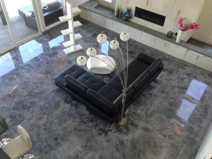 Revêtement sol en résine pour un salon moderne