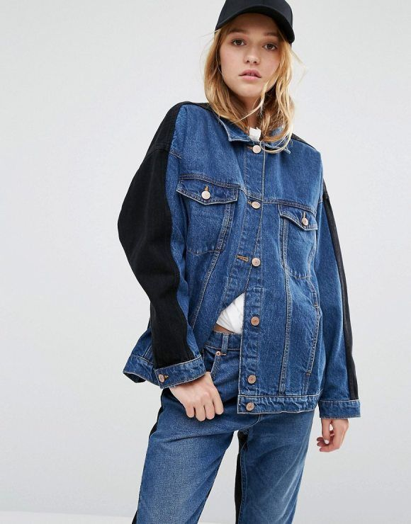 Denim Oversized Color Block Denim Jacket by Monki. Denim jacket by Monki, Mid-weight denim, Mid-wash finish, Contrast back and sleeves, Classic point collar, Button pla...