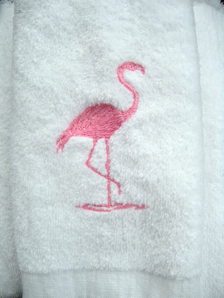 Flamingo towel bathroom or powder room embroidered pink for Bathroom embroidery designs