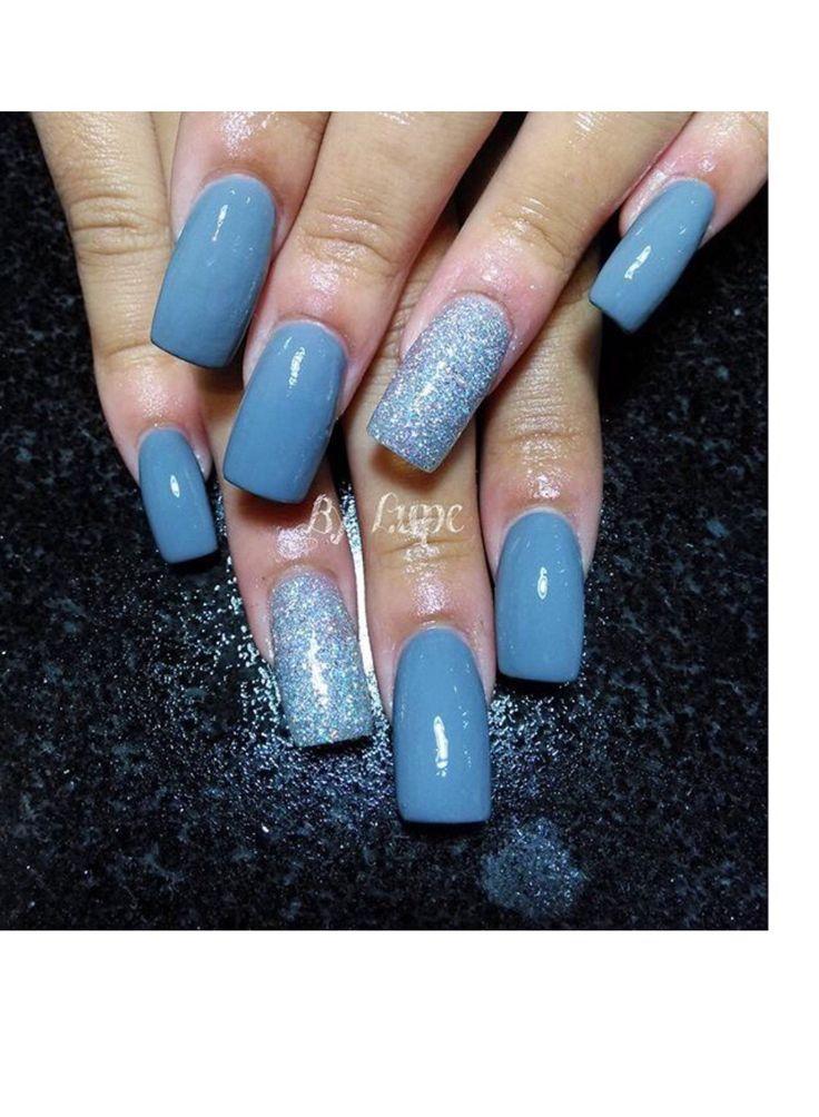 Blue color SNS nails !