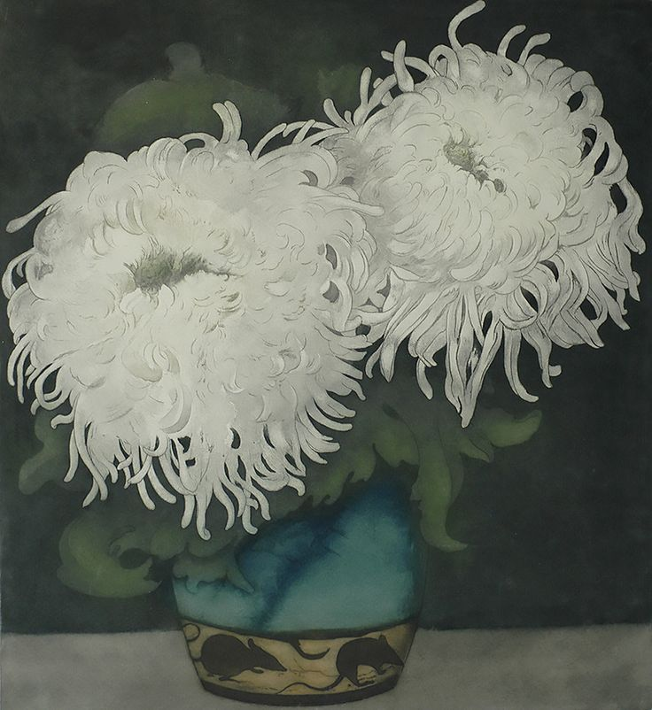 White Chrysanthemum in a Bluegreen Vase (Witte Chrysanten in Blauwgroene vaasje...) - FRANS EVERBAG | william p. carl - fine prints