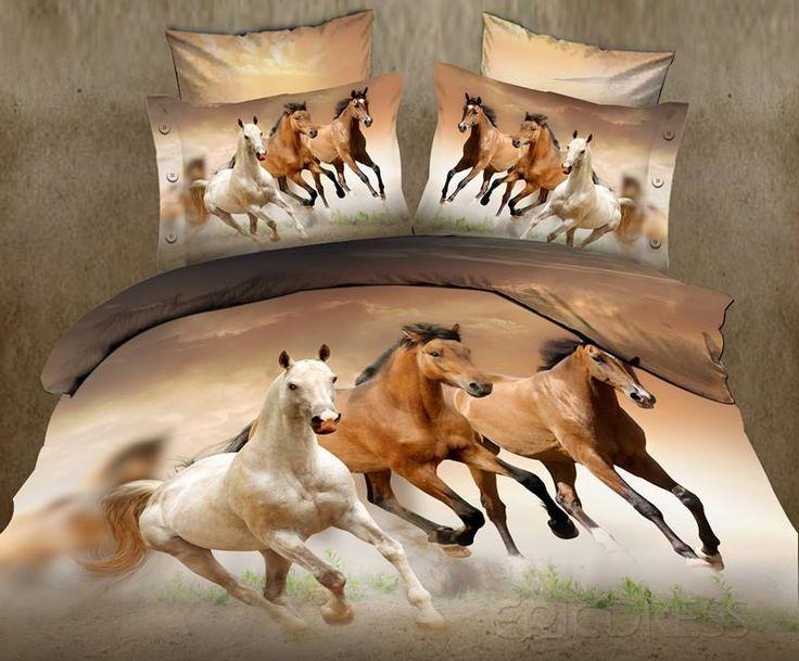 Charming Horse 3D 4PC Cotton Bedding Sets 3D Bedding Sets- ericdress.com 10798050