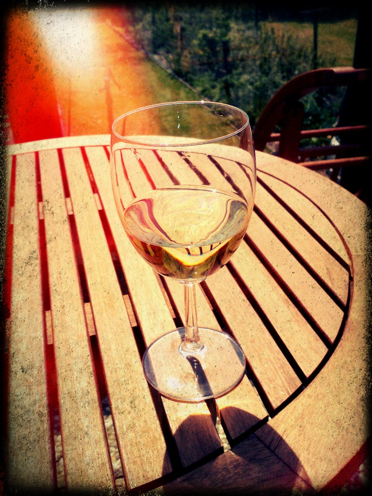 sipping wine in the sun