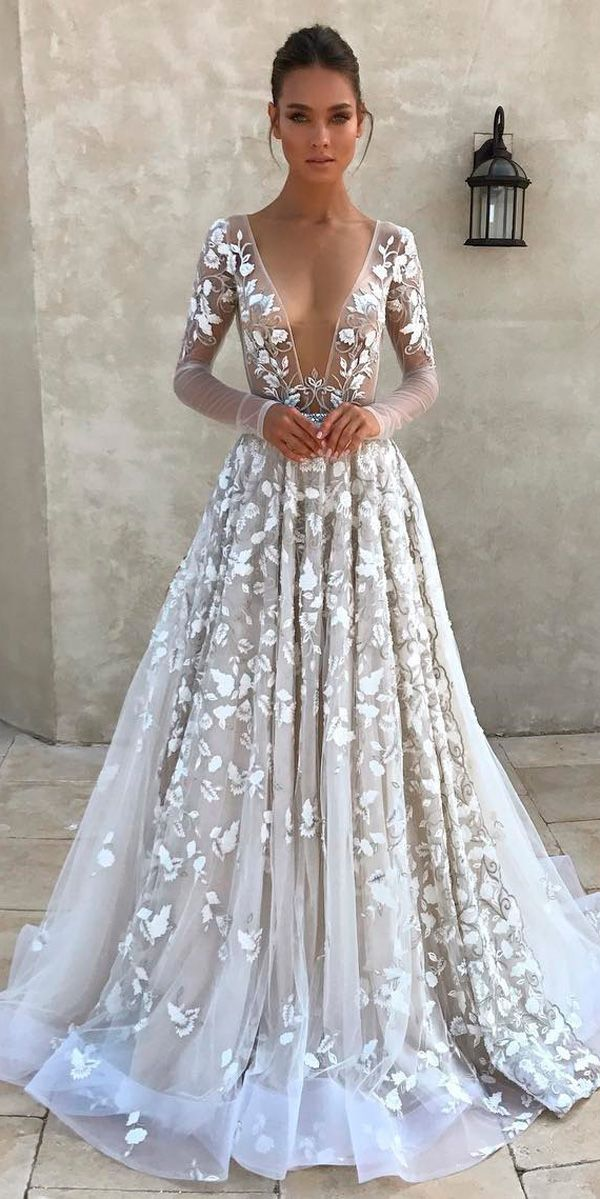 36 Totally Unique Fashion Forward Wedding Dresses ❤ fashion forward wedding dresses a line deep plunging v neckline long sleeves berta ❤ See more: http://www.weddingforward.com/fashion-forward-wedding-dresses/ #weddingforward #wedding #bride