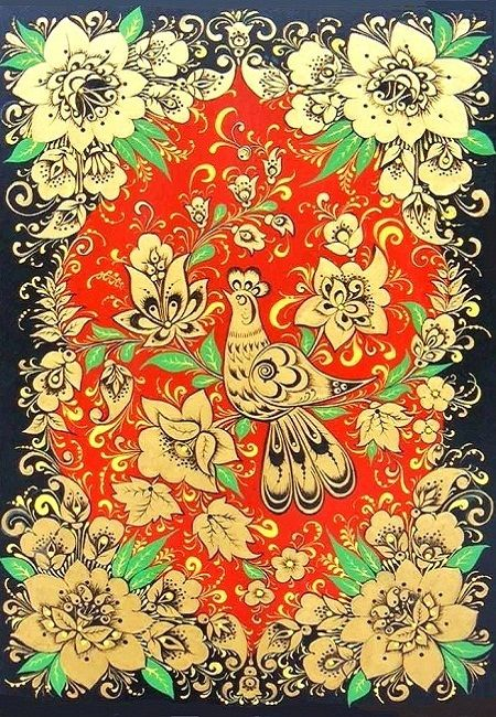 Russian traditional Khokhloma painting #folk #art