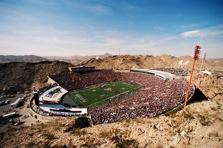 Sun Bowl, home of the UTEP Miners in El Paso, TX. It is the only Division 1 program with a physical view of Mexico from the stands.