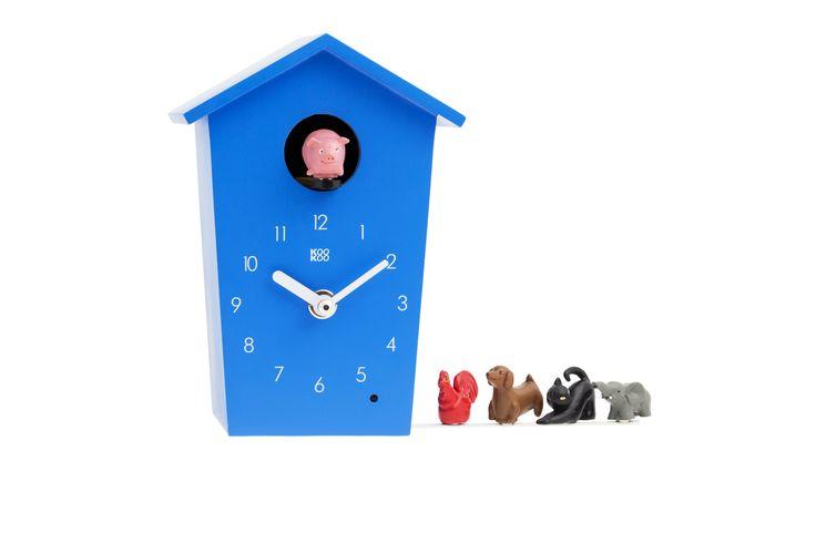 Reloj infantil de cuco con animales. Cada hora sale el animal seleccionado y emite su sonido característico. Moderno y decorativo. Con sensor de luz y control de volumen.