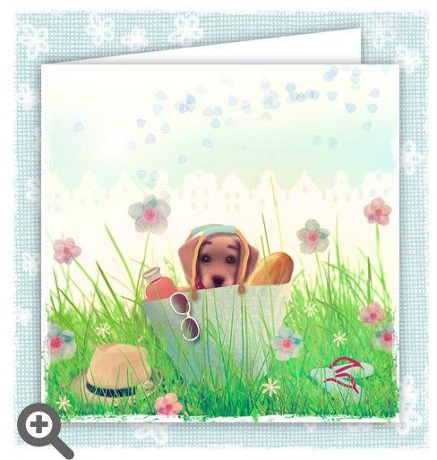 Summer puppy Pup in basket wants to play / Pup zoekt vriendje #wenskaart #kaart #cards