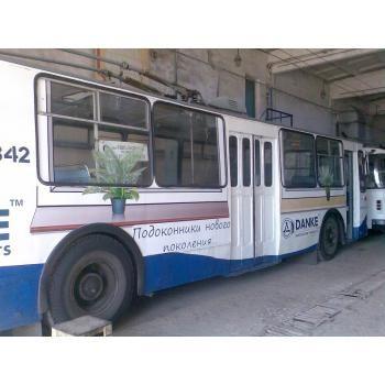 "#реклама #широкоформатная #печать #Одесса #транспорт #оклейка  Реклама на троллейбусе от компании ""Техма"""