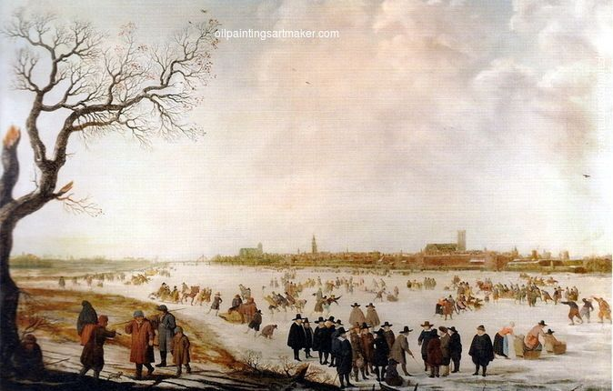 Barent Avercamp Ice view and winter landscape, painting Authorized official website