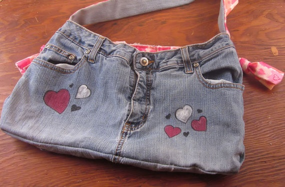 Handmade Blue Jean Purse - Pink Hearts  $18.00
