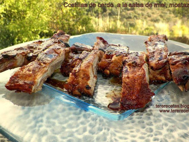 Costillas de cerdo con salsa de miel, mostaza y soja., Receta por Tererecetas - Petitchef