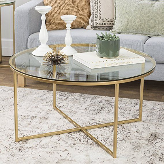 We Furniture 36 Coffee Table With X Base Glass Gold Gold Coffee Table Round Glass Coffee Table Round Coffee Table