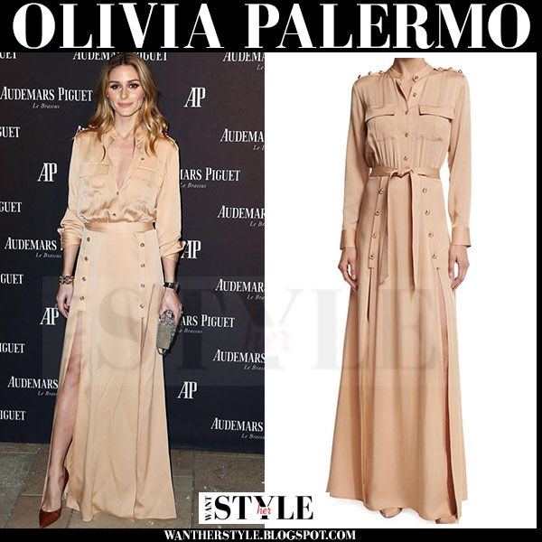 Olivia Palermo in camel maxi shirt dress with long sleeves