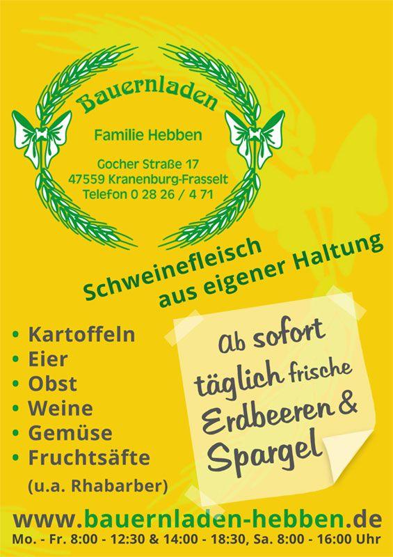 Bauernladen Hebben Kranenburg - Anzeigengestaltung