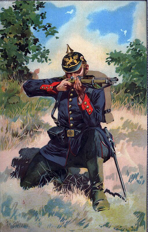 preu ischer soldat mit dem neuen 39 z ndnadelgewehr 39 ca 1860 70 franz sisch deutscher krieg art. Black Bedroom Furniture Sets. Home Design Ideas