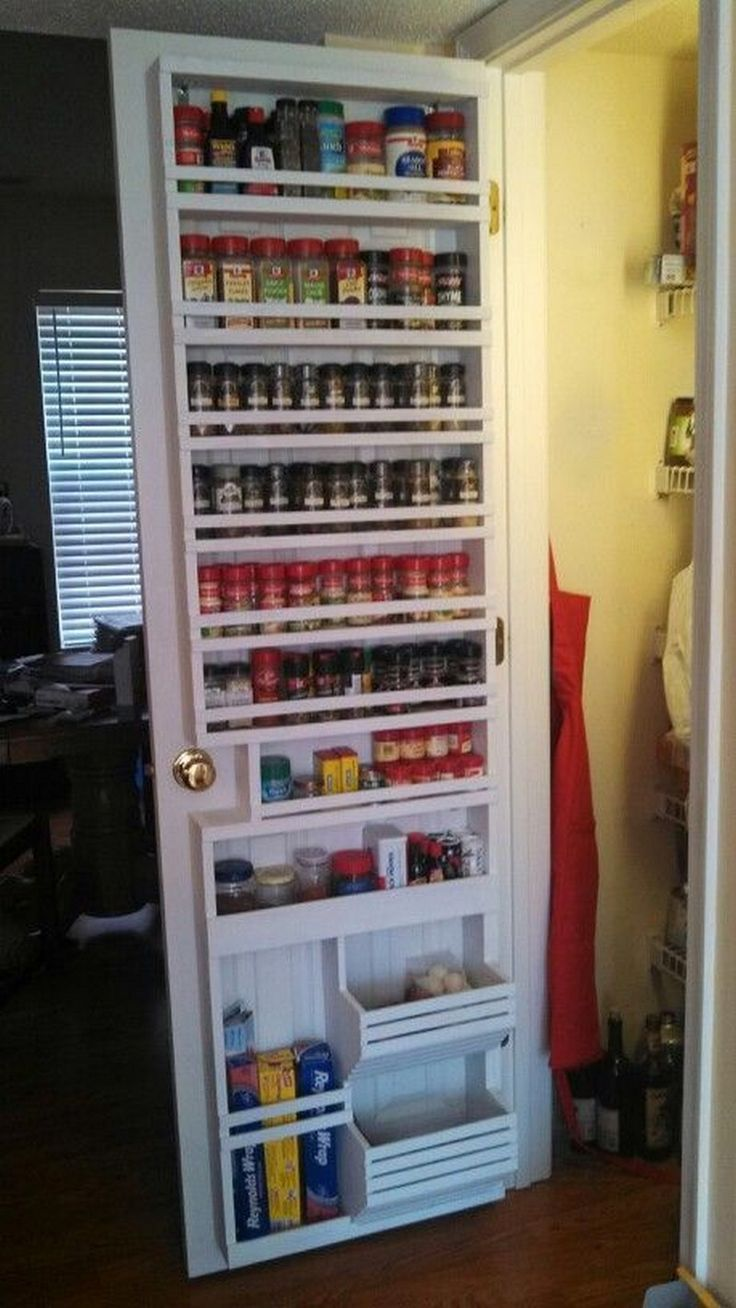OMG! I love this. Spice rack, foil and cling wrap, potato, and onion storage on the back of the pantry door