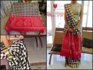 Rs. 9500/- ; CODE : A 18 A Pure traditional Kanchipuram saree that comes with bright pink blouse to grace any grand occasion smile emoticon TO ORDER, please mail to keyahboutique@gmail.com with the CODE mentioned in the picture and your contact number.