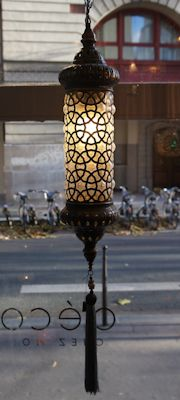 Cylindrical lamp with ottoman circles design - Déco Chez Moi