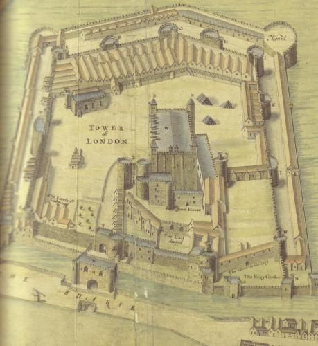 The Tower of London (depicted in Tudor Times) was a prison and a royal residence. While awaiting their coronation, the king (or queen) customarily lived in the royal apartments in the Tower of London.